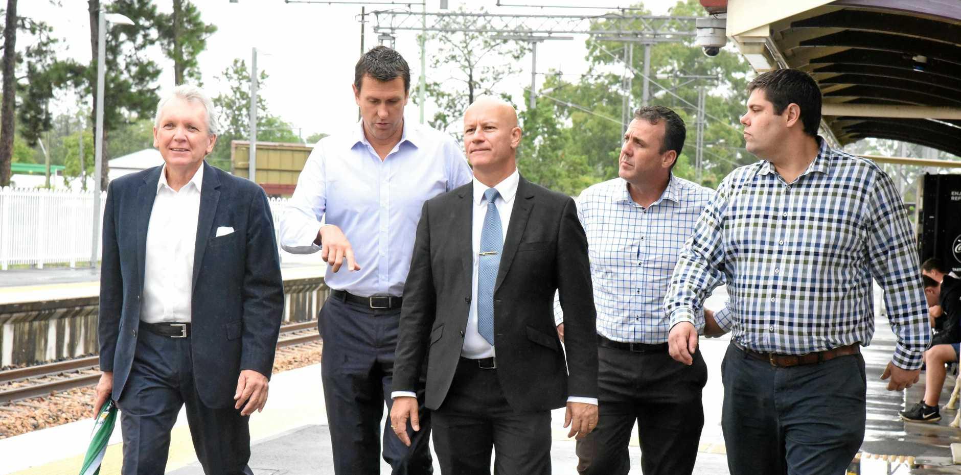TALKING TRACK: LNP Shadow Transport Minister Steve Minnikin with Sunshine Coast LNP MPs Mark McArdle, Dan Purdie, Marty Hunt and Brent Mickelberg.