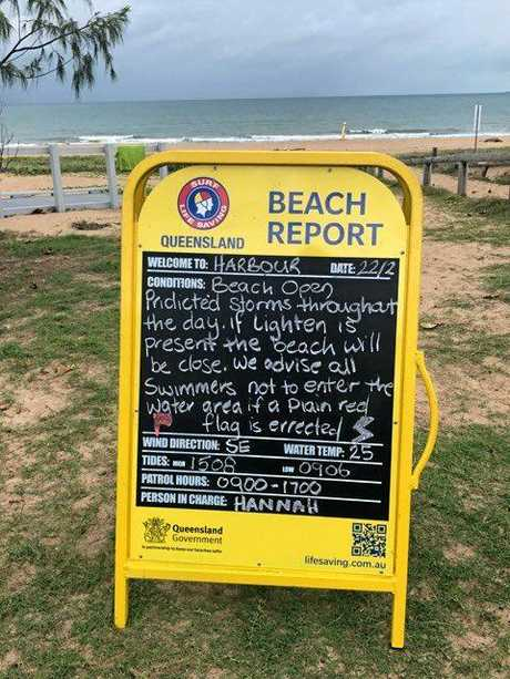 Mackay Harbour Beach has been closed due to a storm.