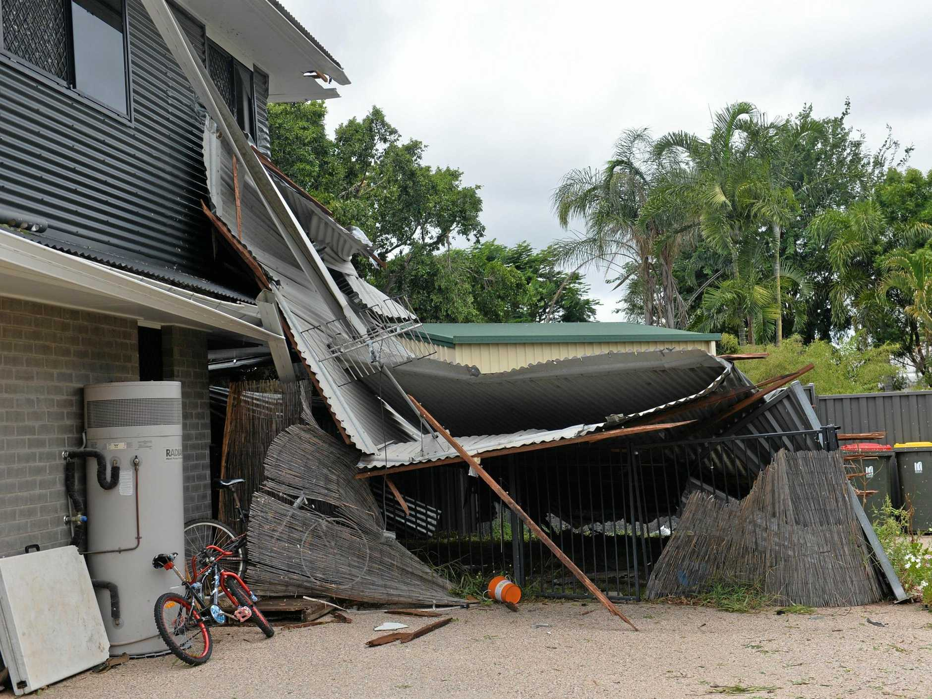 Damage done to Nick Martorana's house in Bennett Court, Moranbah, after cyclonic winds swept through the town.