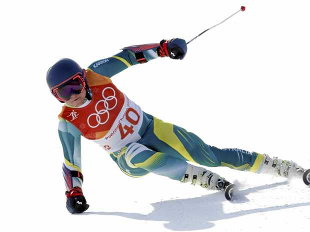 Dominic Demschar lasted less than two seconds in the slalom.