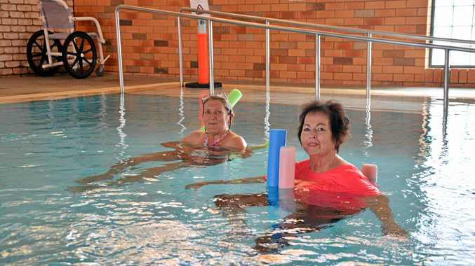Pauline Cole, left, and Judith Martin use the hydrotherapy pool at the South Grafton pool and gym.