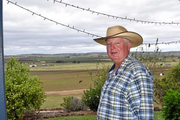 UNBELIEVABLE SIGHT: Kev Ryan on the veranda of his Cottonvale property where two of his livestock were struck by lightning.