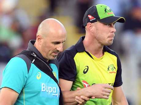 Chris Lynn of dislocated his right shoulder in the final.