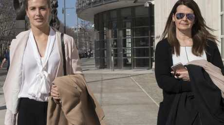 Eugenie Bouchard leaves Brooklyn Federal court with her mother after taking the stand.