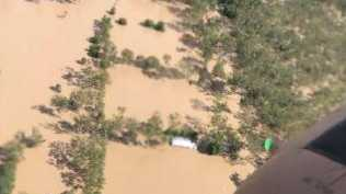 A photo taken from the helicopter of the flood devastation. Picture: Twitter