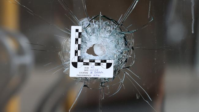 A bullet hole at the scene where Hawi was shot. Picture: Toby Zerna