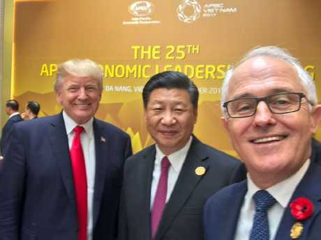 Malcolm Turnbull snaps a selfie with Donald Trump and Xi Jinping. Picture: Twitter