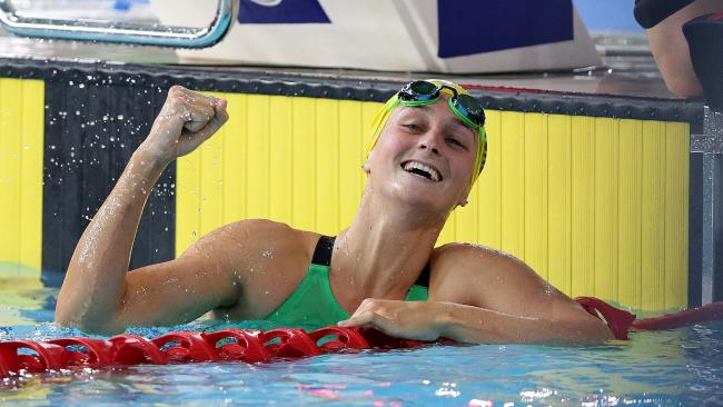 Leiston Pickett wins Gold in the Final of the Women's 50m Breaststroke at the Tollcross Swimming Centre, Glasgow. Pic: Adam Head