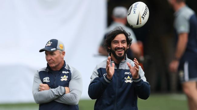Coach Paul Green with Johnathan Thurston during a North Queensland Cowboys training session at Leichhardt Oval ahead of this weekend's NRL Grand Final. Picture. Phil Hillyard
