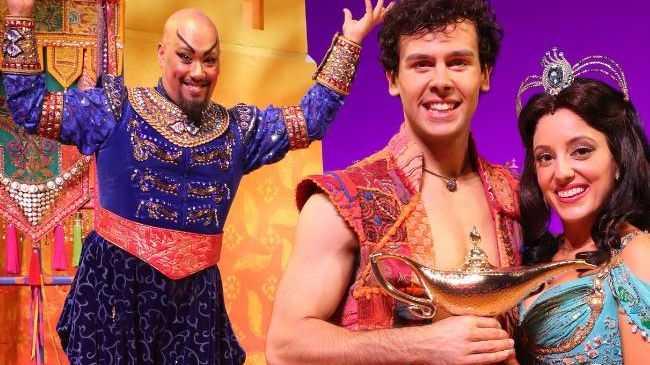 Aladdin cast Gareth Jacobs (Genie), Ainsley Melham (Aladdin) and Hiba Elchikhe (Jasmine). Picture: Liam Kidston