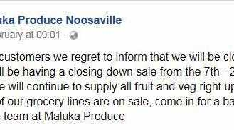 SAD: The message from Maluka on social media advising of its closure.