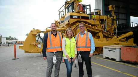 Labor candidate for Capricornia Russell Robertson with Minister for Training and Skills Development Shannon Fentiman and Member for Rockhampton Barry O'Rourke.