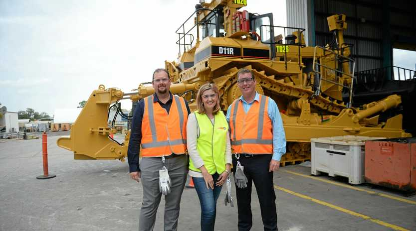 Labor's Capricornia candidate Russell Robertson with Minister for Training Shannon Fentiman and Rockhampton MP Barry O'Rourke.