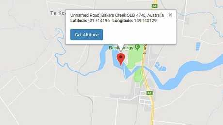 The coordinates where Brian Goldsmith spotted a Commodore in Bakers Creek.