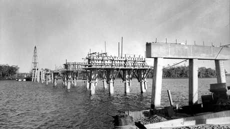 David Low Bridge under construction across the Maroochy River at Bli Bli in January 1958. It officially opened on August 15, 1959.