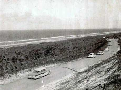 David Low Way, looking south near Marcus Beach, in the 1960s.