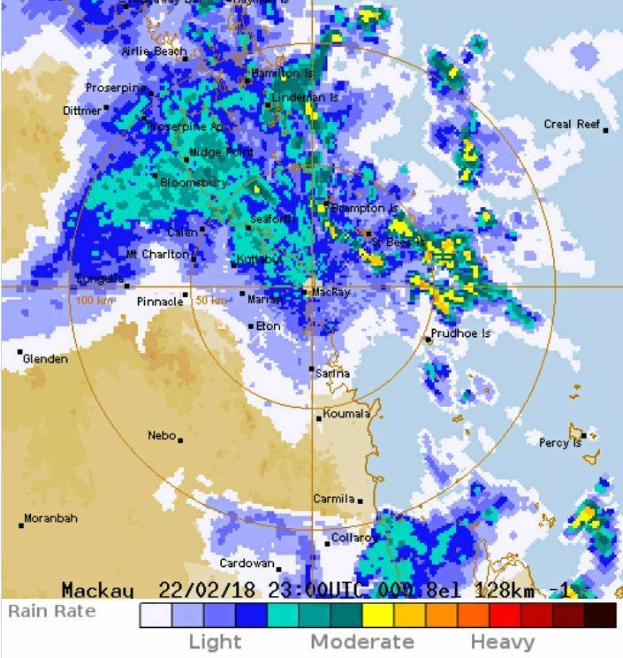 Bureau of Meteorology Mackay radar loop showing wide-spread rain falling throughout the Whitsundays.