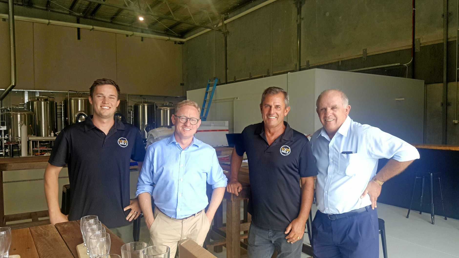 Matt and Lou Wilson of Seven Mile Brewery with Ben Franklin and Senator Williams at the Seven Mile Brewery. They are visiting projects on the North Coast that have received funding under the Regional Jobs and Investment Package.