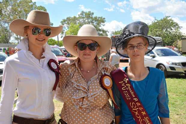 Rural Ambassadors Olivia Frahm and Kate Roberts and Miss Showgirl Amanda Praetz at the Proston Show March 11.