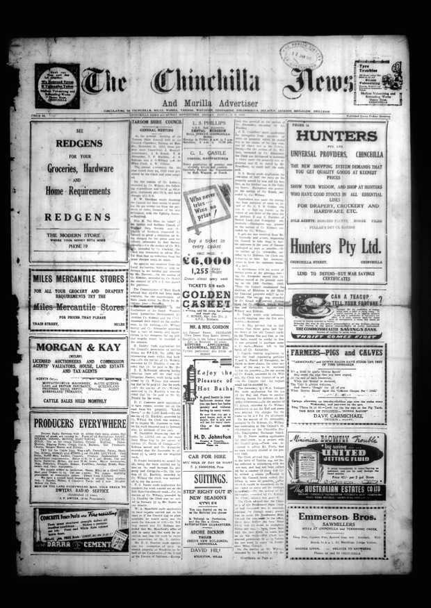 Chinchilla News front page 1942.