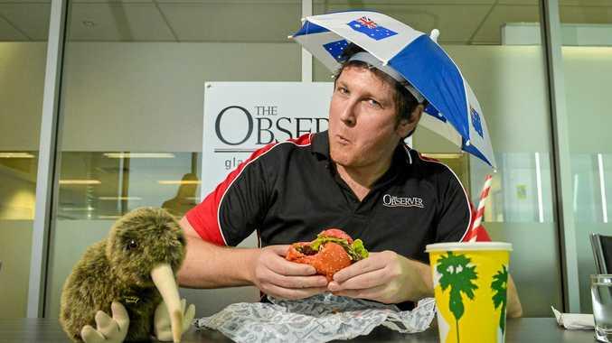 GOOD TUCKER: Observer reporter Matt Harris tries Burger Urge's new Big Bad Barnaby Burger.