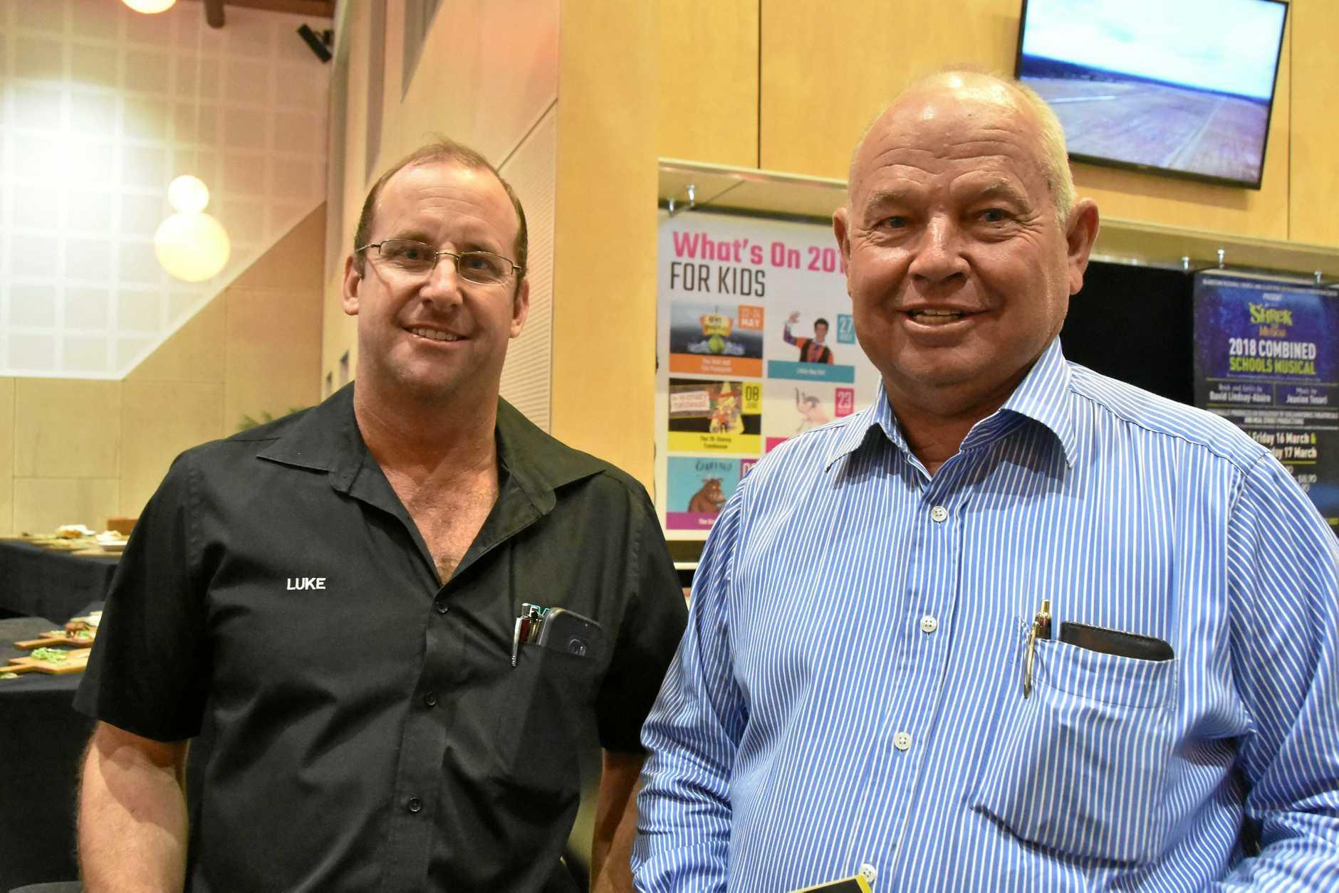 Levelin Civil owner Luke McAlpine and Rayment Excavations owner Ian Rayment at the information session   in Gladstone.