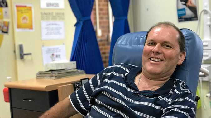 SELFLESS ACT: Gympie cancer patient Stuart Gooddy has donated a new TV to the Gympie Hospital's chemo ward.