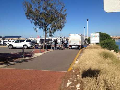 Police carrying out the bust at a jetty in Geraldton. Picture: Geraldton Guardian