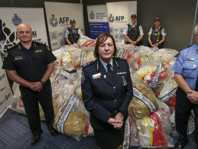 AFP deputy commissioner Leanne Close and other law enforcers with the $1b haul of drugs. Picture: Nic Ellis/The West Australia