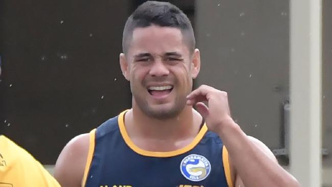 Jarryd Hayne during his first training session back with the Eels.