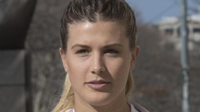 Tennis star Eugenie Bouchard leaves Brooklyn Federal court.