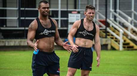 Kurtley Beale with Bernard Foley at training.