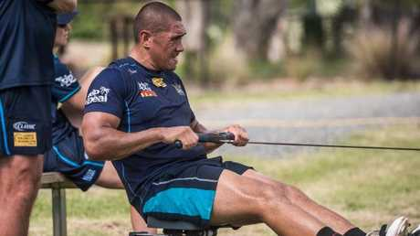 Leilani Latu putting in extra work during pre-season training. Photo: Gold Coast Titans