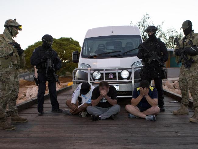 Men are arrested on the day the boat arrived in WA.