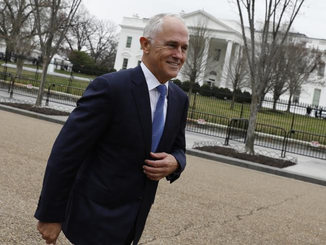 Australian Prime Minister Malcolm Turnbull after speaking with journalists outside the White House, in Washington, DC. Picture: AAP Image/Yuri Gripas