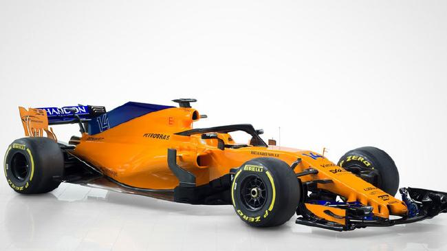 A side-on look at the new McLaren car.