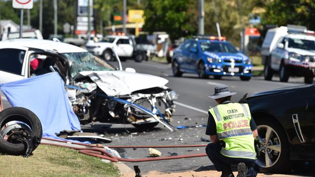 Police crash investigators at the scene of the crash that killed Hervey Bay grandmother Janet Tucker in 2016. Picture: Alistair Brightman