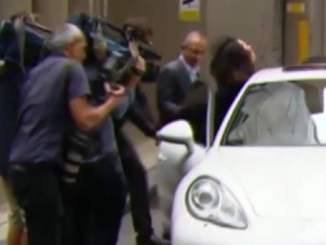 Salim Mehajer slams a Porsche door on Ch 7 journalist Laura Banks.