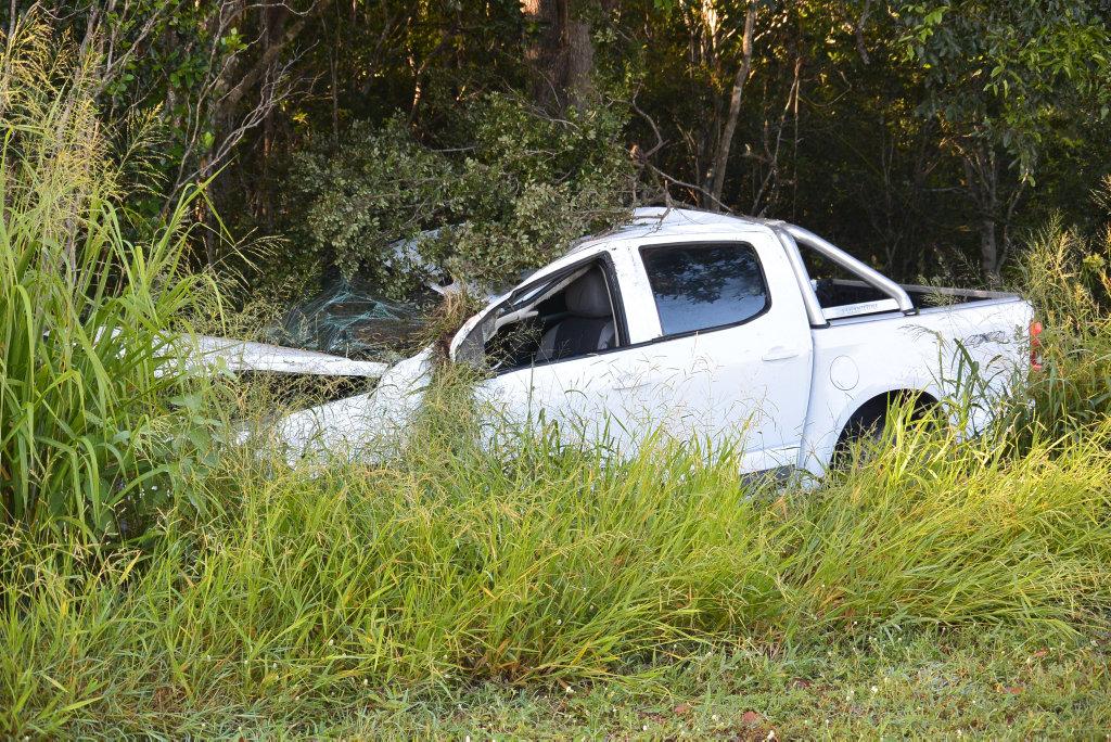 CRASH: The Colarado ute that crashed on Telegraph Rd. Photo Craig Warhurst / NewsMail