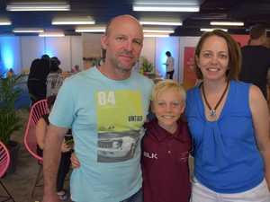 Simon Rourke (left), Thomas Rourke and Adrienne