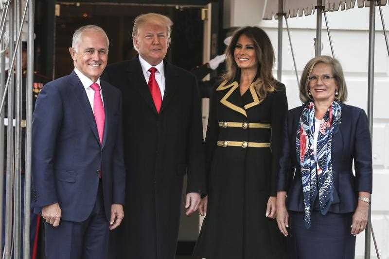 US President Donald J. Trump (2-L) and First Lady Melania Trump (L) view the Rose Garden with Prime Minister of Australia Malcolm Turnbull (2-R) and his wife Lucy Turnbull (R) after their arrival at the South Portico of the White House in Washington, DC, USA, 23 February 2018.