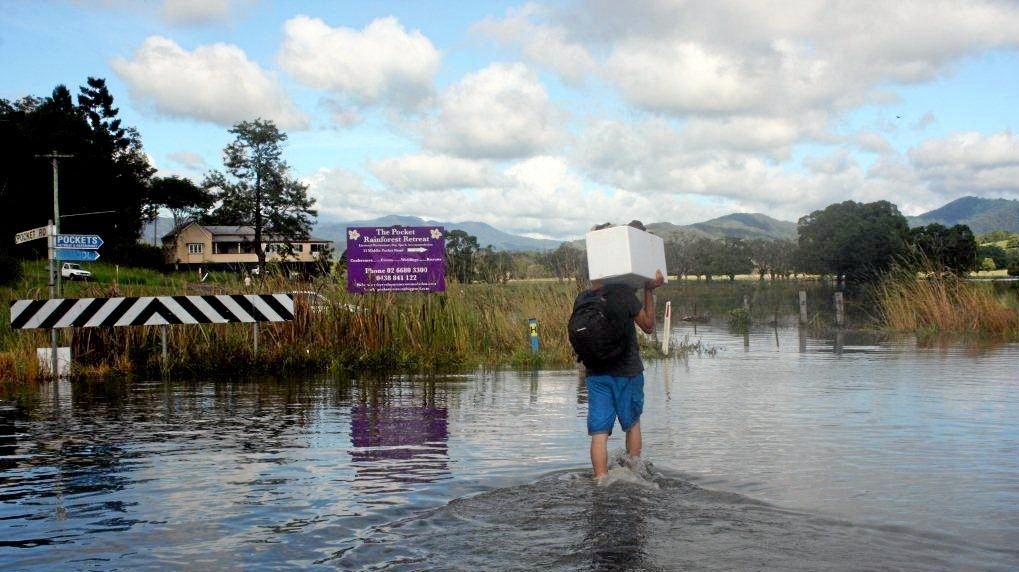 File photo of flood waters at Billinudgel.