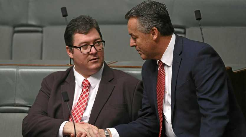 PARTY ROOM: Nationals MPs George Christensen (left) and Darren Chester.