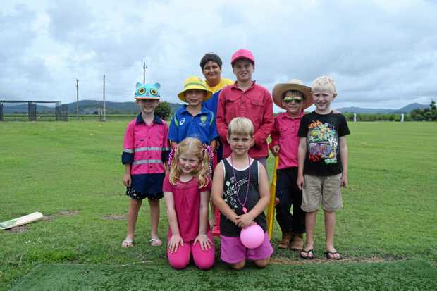 PINK STUMPS: (Back); Charlie White, Alfie Williams, Calen King, Benjamin Val Madex, Darcy Watts and Reggie Davies.(Front): Constance Linnewebber and Ted Griffiths, at the second annual Proserpine pink stumps charity day on Saturday February 24, 2018.