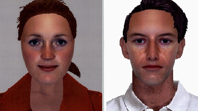 Composite images released by NSW Police of a man and woman who allegedly visited the home of a mother and claimed they were government caseworkers sent to check on the welfare of her babies.