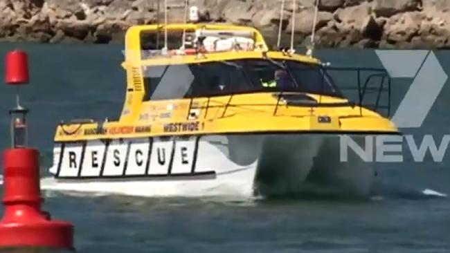 Two men are dead after a WA yacht flipped during a race. Picture: Channel 7.