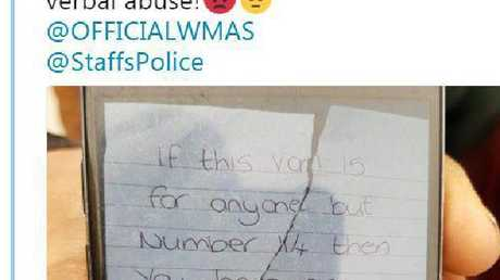Paramedic Katie Tudor was gobsmacked when Kirsty Sharman left this note on an ambulance. Picture: Twitter/Katie Tudor
