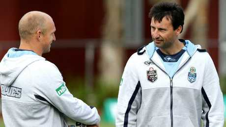 Nathan Brown and Laurie Daley during NSW State of Origin training.