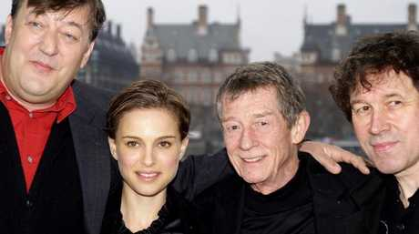 (L-r) Actor Stephen Fry with Natalie Portman, John Hurt and Stephen Rae in V for Vendetta.  Picture:  Supplied