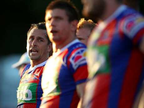 Mitchell Pearce of the Knights takes a breather.
